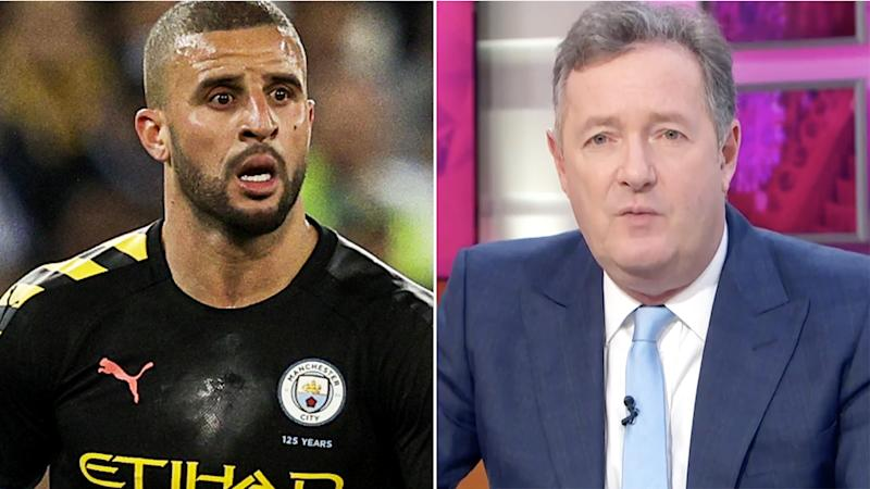 Footballer Kyle Walker is pictured next to TV host Piers Morgan in a split 50/50 image.