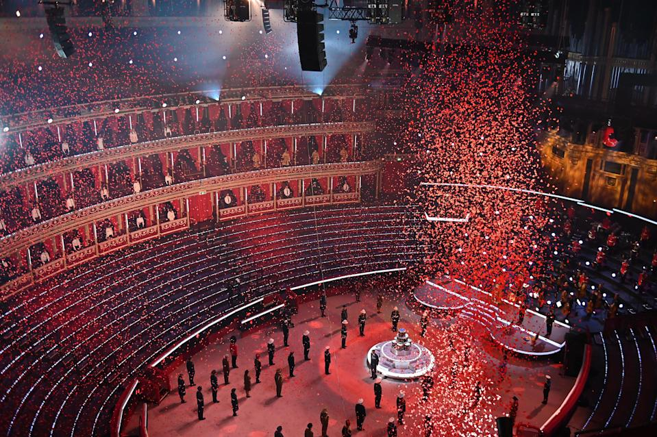 EMBARGOED TO 0001 SATURDAY NOVEMBER 7 Undated handout photo issued by the Royal British Legion of the Poppy Drop at The Royal British Legion's Festival of Remembrance at The Royal Albert Hall, which will be broadcast on BBC One on Saturday.