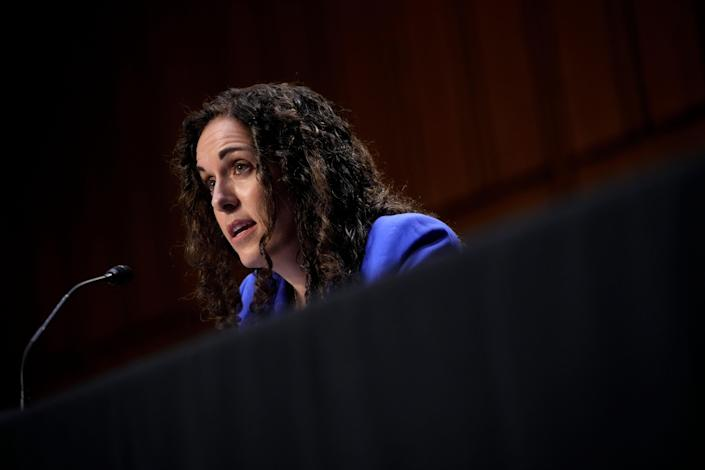 WASHINGTON, DC - JUNE 9: Christine Abizaid, nominee to be Director of the National Counterterrorism Center, testifies during a Senate Intelligence Committee nominations hearing on Capitol Hill June 9, 2021 in Washington, DC. If confirmed, she will be the first woman to hold the position on a permanent basis. (Photo by Drew Angerer/Getty Images) ORG XMIT: 775664343 ORIG FILE ID: 1233359274