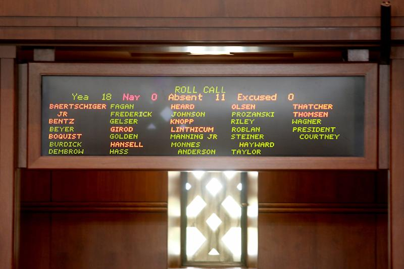 The Oregon Senate meets, but is unable to reach quorum as Republican senators continue to be absent from the Capitol over HB 2020, a greenhouse gas emissions cap-and-trade bill, at the Oregon State Capitol in Salem on June 23, 2019.