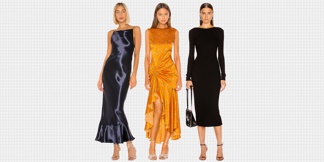 <p>So you have to tear yourself away from a weekend of Netflix, eat, and repeat long enough to attend a friend's wedding? And worse, it's happening in the...<em>winter</em>? Shudder-inducing. Unlike spring and summer fetes, to which you can wear the bare minimum, winter weddings call for dresses in thick fabrics, like velvet, and with sleeves, if possible. Well, we've got you covered (literally). The options ahead are nice enough to wear more than once—i.e. the holy grail of wedding attire. </p>