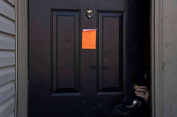 PHOTO: An eviction notice is posted and the lock is changed on a residence in the unincorporated community of Galloway, March 3, 2021, west of Columbus, Ohio.  (Stephen Zenner/Getty Images)