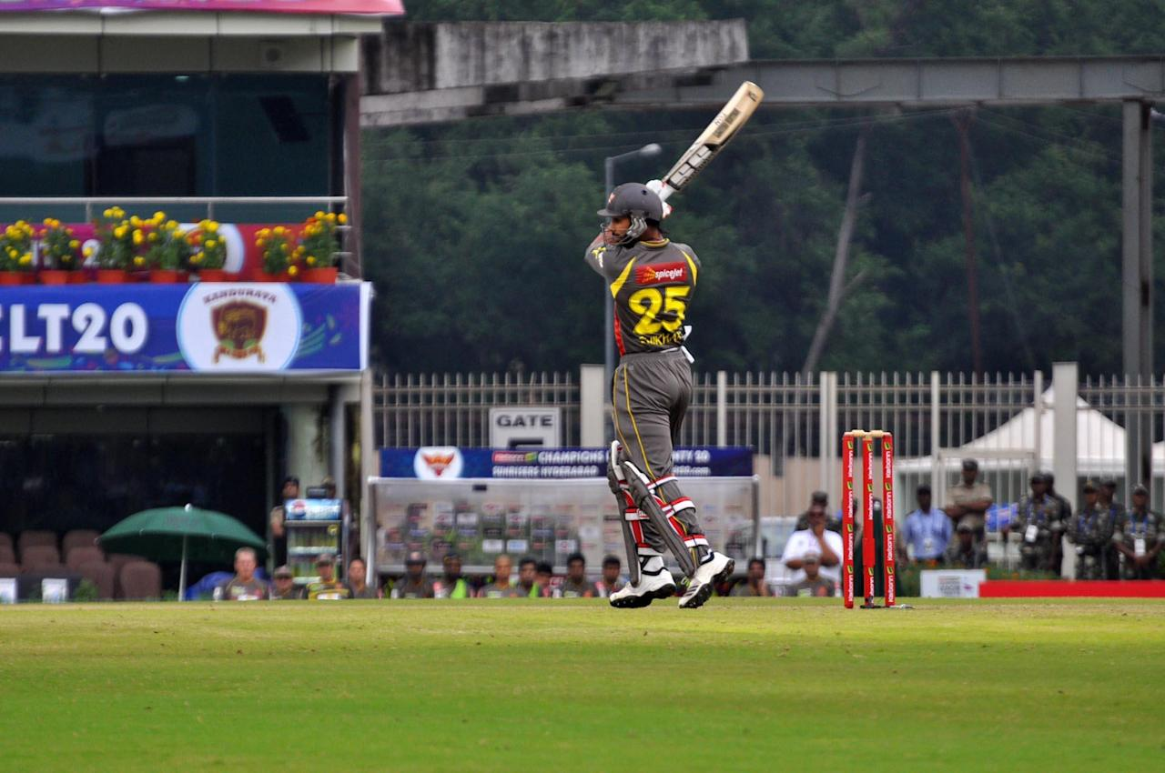 Shikhar Dhawan of Sunrisers Hyderabad in action during T-20 match against Titans during Karbonn Smart Champions League Twenty-20 Match at Jharkhand State Cricket Association (JSCA) International Cricket Stadium in Ranchi on 28 Sept. 2013. (Photo: IANS)