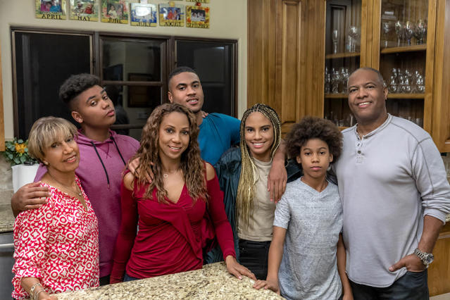 Meet the Peetes! Dolores Robinson, Robinson Peete, Holly Robinson Peete, R.J. Peete, Ryan Peete, Roman Peete, and Rodney Peete. (Photo: Crown Media United States LLC/Photographer: Alexx Henry Studios, LLC/ Saam Gabbay.