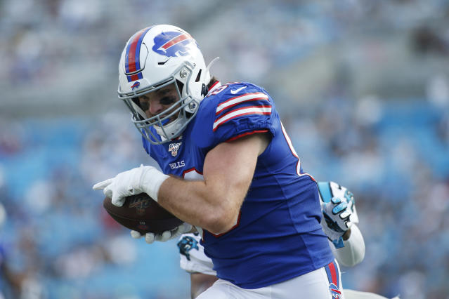 Buffalo Bills tight end Tommy Sweeney (89) runs against the Carolina Panthers during the first half an NFL preseason football game, Friday, Aug. 16, 2019, in Charlotte, N.C. (AP Photo/Brian Blanco)