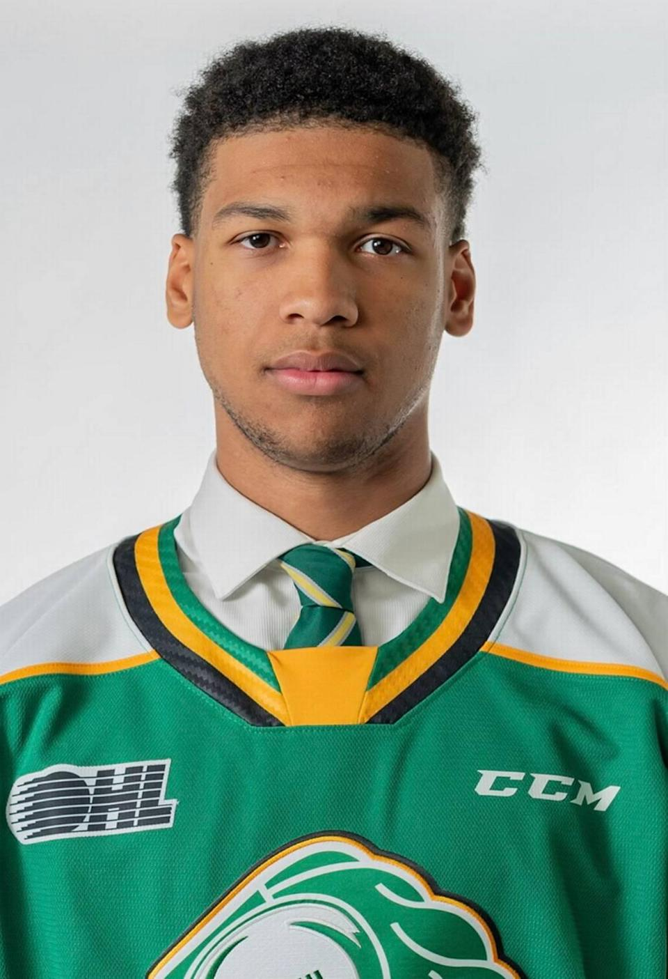 Bryce Montgomery is a 6-5, 220-pound defenseman for the London Knights of the Ontario Hockey League.