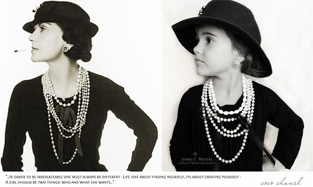 Emma poses in style of fashion icon Coco Chanel (sans cigarette, of course) (Jaime Moore)