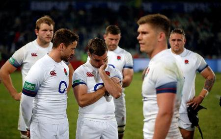 Rugby Union - Second Test International - South Africa v England - Free State Stadium, Bloemfontein, South Africa - June 16, 2018. England's players react after loosing to South Africa. REUTERS/Siphiwe Sibeko
