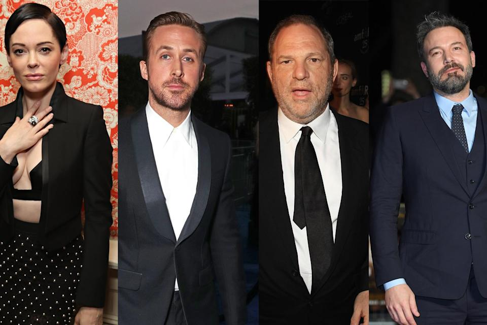 From left, Rose McGowan, Ryan Gosling, Harvey Weinstein, Ben Affleck. (Photo: Getty Images)