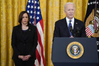 Vice President Kamala Harris looks on as President Joe Biden speaks before signing the COVID-19 Hate Crimes Act, in the East Room of the White House, Thursday, May 20, 2021, in Washington. (AP Photo/Evan Vucci)