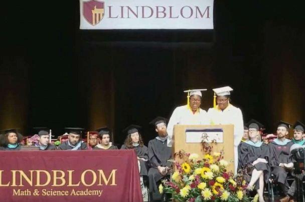 PHOTO: Tia and Tyra Smith accepted the highest academic title of valedictorians at Lindblom Math and Science Academy in West Englewood, Ill., June 8, 2019. (Courtesy Lemi-Ola Erinkitola)