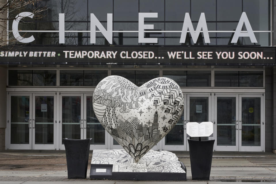 The Aksarben Village movie theater is closed in Omaha, Neb., Wednesday, March 18, 2020, due to the coronavirus outbreak. (AP Photo/Nati Harnik)