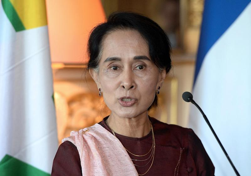 Myanmar's opposition leader Aung San Suu Kyi, pictured on April 15, 2014 in Paris