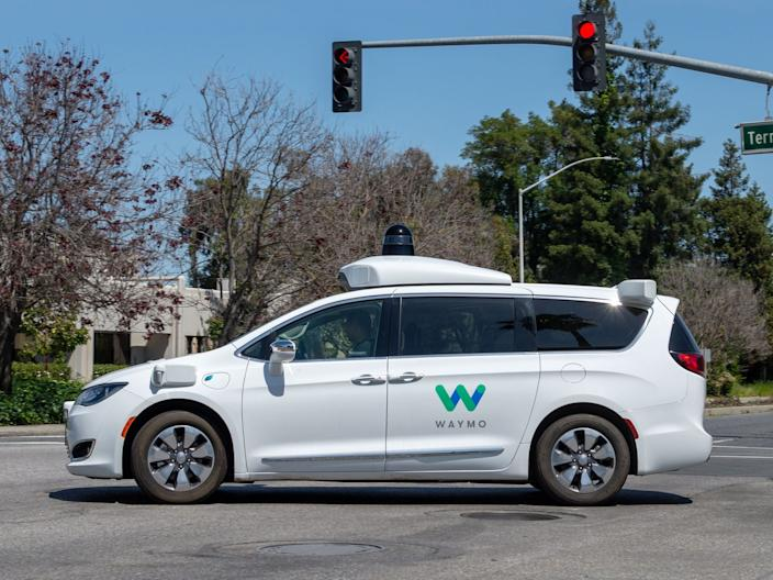 A Chrysler Pacifica minivan equipped with Waymo's self-driving technology.