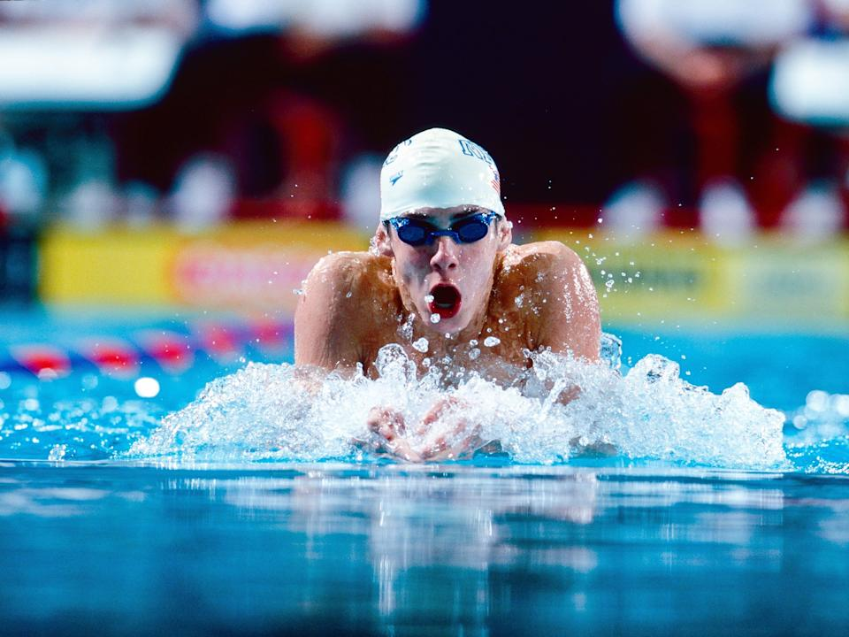 Michael Phelps swimming in 2000.