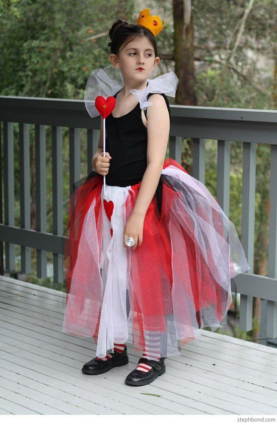 """<p>This cute Queen of Hearts idea can work for any age. Just DIY a red and white tulle skirt and pair it with a black tee or leotard, heart accessories, and a whimsical crown. </p><p><strong>Get the tutorial at <a href=""""http://blog.stephbond.com/2015/08/cheap-and-easy-diy-alice-in-wonderland.html"""" rel=""""nofollow noopener"""" target=""""_blank"""" data-ylk=""""slk:Bondville"""" class=""""link rapid-noclick-resp"""">Bondville</a>.</strong></p><p><a class=""""link rapid-noclick-resp"""" href=""""https://www.amazon.com/ASIBT-Fabric-Runner-Crafting-Wedding/dp/B01MF4Q94C/ref=sr_1_4?tag=syn-yahoo-20&ascsubtag=%5Bartid%7C10050.g.29343502%5Bsrc%7Cyahoo-us"""" rel=""""nofollow noopener"""" target=""""_blank"""" data-ylk=""""slk:SHOP RED TULLE"""">SHOP RED TULLE</a><br></p>"""