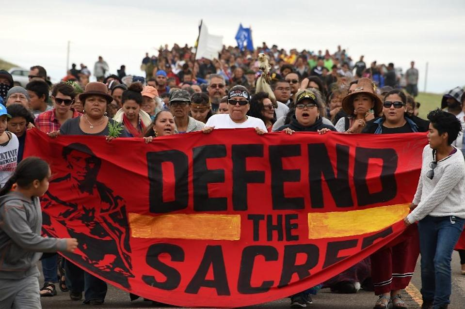 Members of some 200 tribes and supporters have protested for months at a North Dakota camp site near the planned route of the Dakota Access Pipeline (AFP Photo/Robyn Beck)