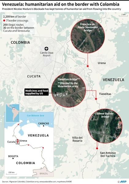 Close-up map showing the Colombia-Venezuela border, main crossings, and concerts planned