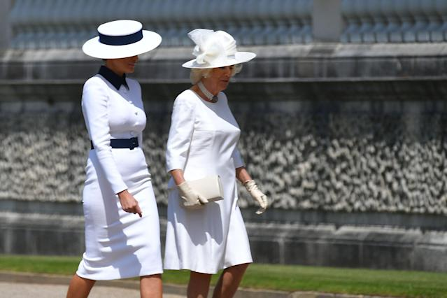 Camilla, Duchess of Cornwall helped welcome the Trumps to Buckingham Palace. (Photo: MANDEL NGAN/AFP/Getty Images)
