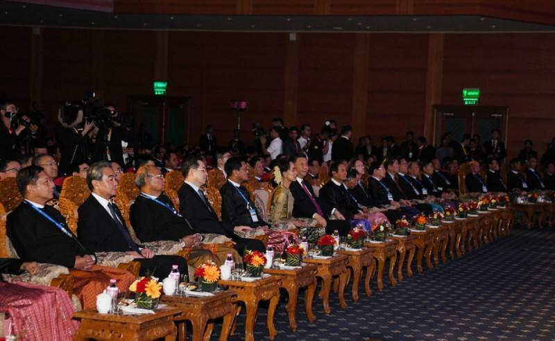 Chinese President Xi Jinping, Myanmar President Win Myint and Myanmar State Counsellor Aung San Suu Kyi attend a cermony marking Myanmar and China's 70th anniversary of diplomatic relations in Naypyidaw,