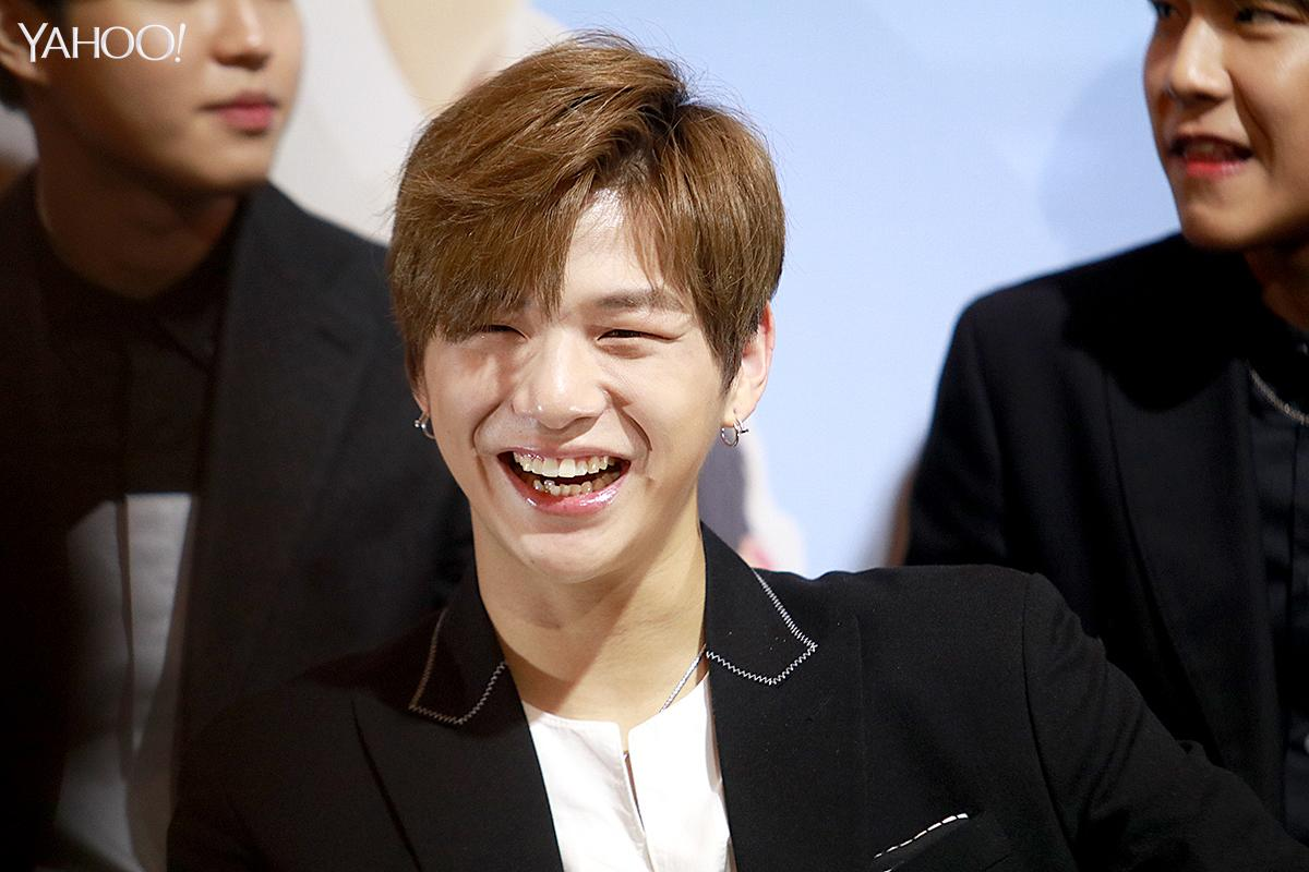 <p>Kang Daniel at Wanna One press conference in Singapore </p>