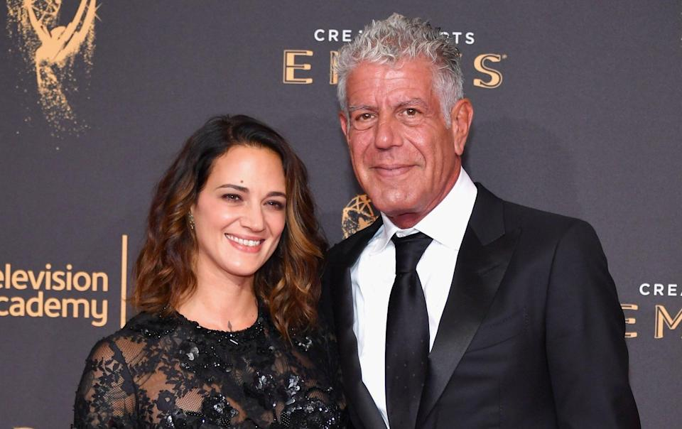 Anthony Bourdain with his girlfriend Asia Argento, in 2017 - Getty