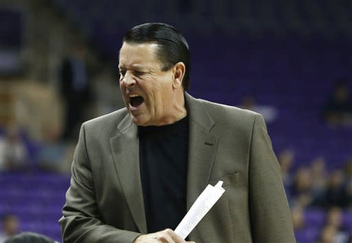 Georgia head coach Andy Landers yells in the first half of an NCAA women's college basketball game against TCU, Wednesday, Dec. 19, 2012, in Fort Worth, Texas. (AP Photo/Sharon Ellman)