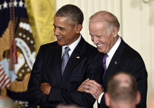 PHOTO: President Barack Obama standing with Vice President Joe Biden in the East Room of the White House in Washington, Oct. 15, 2015. (Susan Walsh/AP)