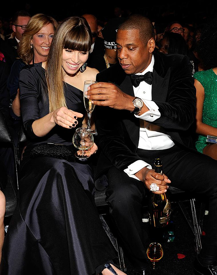 LOS ANGELES, CA - FEBRUARY 10:  Jessica Biel and Jay-Z attend the 55th Annual GRAMMY Awards at STAPLES Center on February 10, 2013 in Los Angeles, California.  (Photo by Kevin Mazur/WireImage)