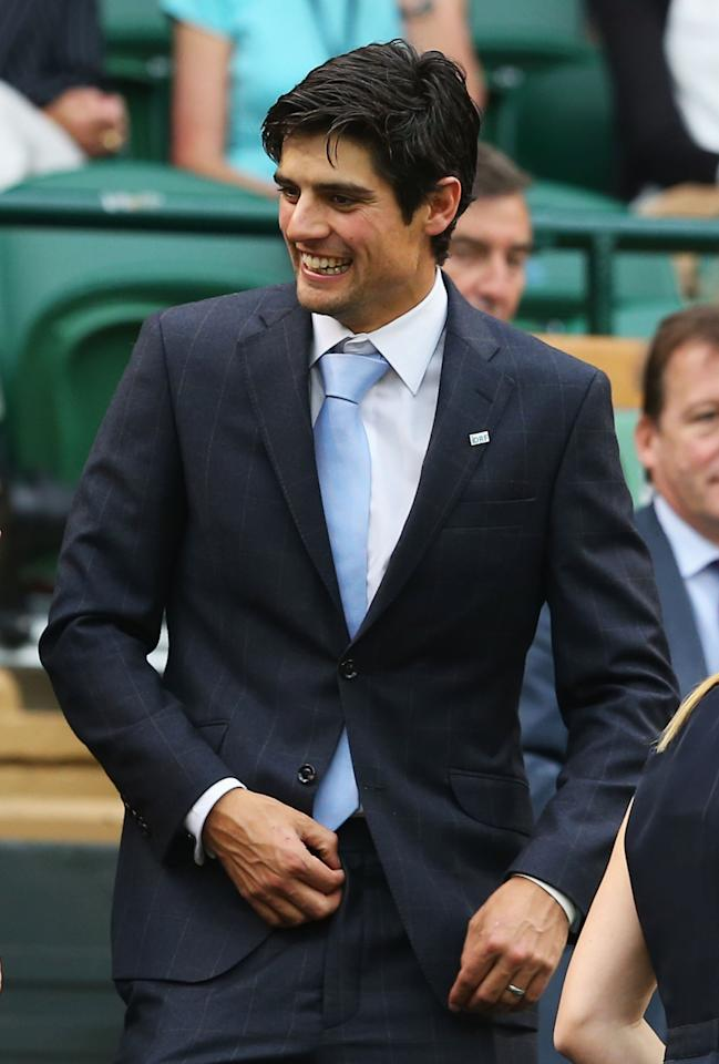 LONDON, ENGLAND - JUNE 28: England cricket captain Alastair Cook takes his seat in the Royal Box on Centre Court on day five of the Wimbledon Lawn Tennis Championships at the All England Lawn Tennis and Croquet Club on June 28, 2013 in London, England. (Photo by Julian Finney/Getty Images)