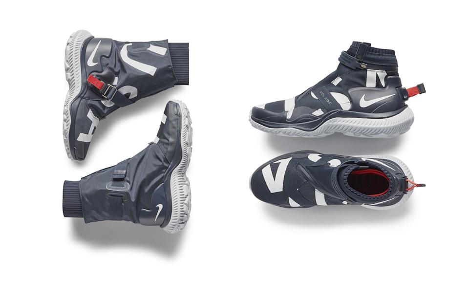 <p>The boots are lace-free and made with comfort, function, and style in mind. The women's boot (left) is taller than the men's (right) and includes extra heat-reflective material for warmth. (Photo: courtesy of Nike) </p>