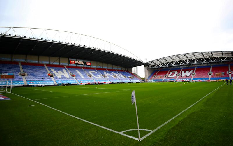 A general view of the pitch during the Sky Bet Championship match at the DW Stadium, Wigan.