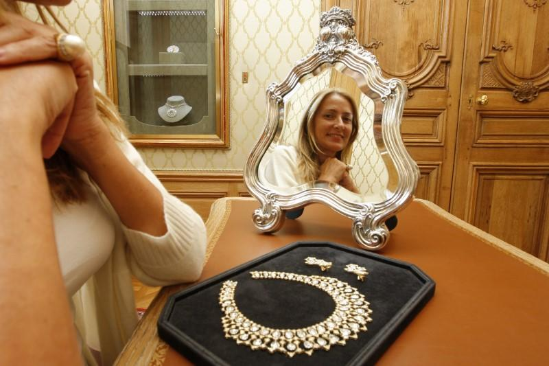 Maria Christina Buccellati, head of communication of jewellery house Buccellati, poses in her office in Paris