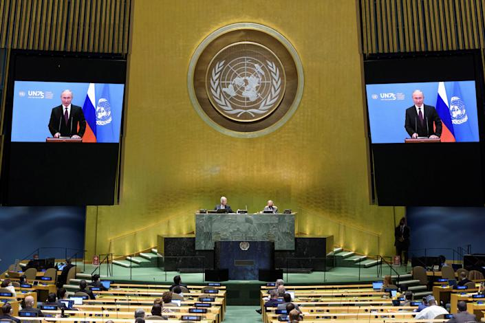 Russia's President Vladimir Putin speaks during the 75th annual U.N. General Assembly, which is being held mostly virtual amid the coronavirus pandemic, as seen on Tuesday, September 22, 2020. / Credit: United Nations / Handout via Reuters