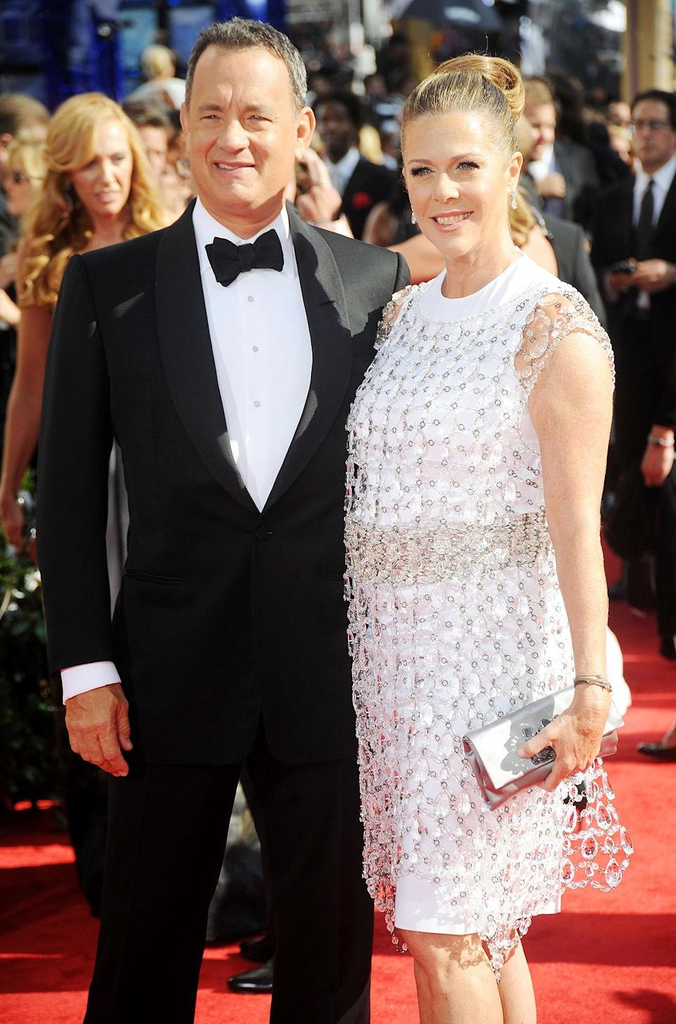 <p>Tom Hanks and Rita Wilson made it a black and white affair. </p>