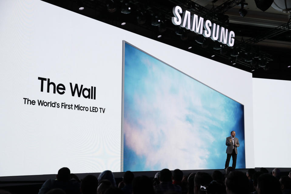 <p>The Consumer Electornics Show wouldn't be complete without some mind-bogglingly huge TVs – and Samsung didn't disappointg, with a 146-inch modular TV called The Wall. It showcaseas a new screen technology called Micro LED, which may be able to offer high picture quality at lower prices. </p>