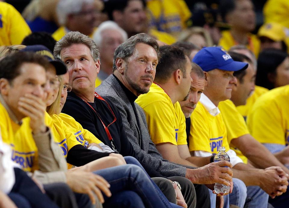 OAKLAND, CA - MAY 01:  Larry Ellison, the chief executive officer of Oracle Corporation, watches the Golden State Warriors play against the Los Angeles Clippers in Game Six of the Western Conference Quarterfinals during the 2014 NBA Playoffs at ORACLE Arena on May 1, 2014 in Oakland, California.