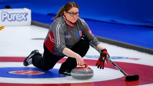 Northwest Territories' skip Kerry Galusha makes a shot against Team Wild Card 2 at the Scotties Tournament of Hearts in Calgary, Alta., on Monday. (The Canadian Press - image credit)