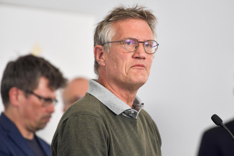 """State epidemiologist Anders Tegnell of the Public Health Agency of Sweden speaks during a news conference on a daily update on the coronavirus COVID-19 situation, in Stockholm, Sweden, Wednesday June 3, 2020. Tagnell has shown some contrition as criticism has grown over the country's approach of not locking down the country has resulted in one of the highest death rates per capita in the world.  Tegnell told Swedish radio on Wednesday that """"I think there is potential for improvement in what we have done in Sweden, quite clearly."""" (Anders Wiklund / TT via AP)"""