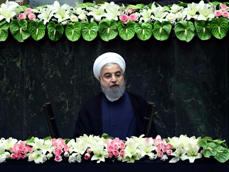 Iran's President Hasan Rouhani delivers a speech after his swearing-in ceremony: AP