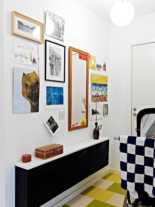 """<p>Wall-mounted cabinets offer storage that's covered up (open shelving is just too much pressure) but are still narrow enough to not block off the walkway.</p><p>See more at <a href=""""https://nordicbliss.wordpress.com/2011/08/28/639/"""" rel=""""nofollow noopener"""" target=""""_blank"""" data-ylk=""""slk:Nordic Bliss"""" class=""""link rapid-noclick-resp"""">Nordic Bliss</a>.</p><p><span><strong><a class=""""link rapid-noclick-resp"""" href=""""https://go.redirectingat.com?id=74968X1596630&url=https%3A%2F%2Fwww.ikea.com%2Fus%2Fen%2Fcatalog%2Fproducts%2FS39231603%2F&sref=https%3A%2F%2Fwww.countryliving.com%2Fhome-maintenance%2Fg37186772%2Fentryway-ikea-hacks%2F"""" rel=""""nofollow noopener"""" target=""""_blank"""" data-ylk=""""slk:BUY NOW"""">BUY NOW</a> <em><strong>W</strong></em></strong></span><em><strong>all-Mounted Cabinet, $270</strong></em></p>"""