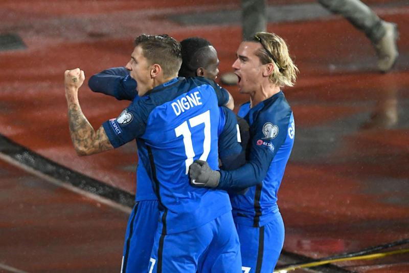 France celebrate the Blaise Matuidi goal that leaves them top of Group A: AFP/Getty Images