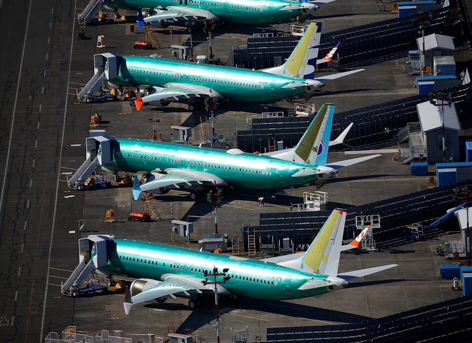 FILE PHOTO: Unpainted Boeing 737 MAX aircraft are seen parked in an aerial photo at Renton Municipal Airport near the Boeing Renton facility in Renton, Washington, U.S. July 1, 2019.  REUTERS/Lindsey Wasson
