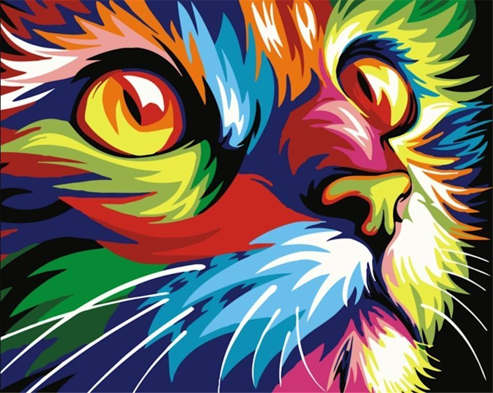 """<br><br><strong>Newsight</strong> Oil Paint by Number, 16' x 20' Color Cat, $, available at <a href=""""https://amzn.to/2w2cCke"""" rel=""""nofollow noopener"""" target=""""_blank"""" data-ylk=""""slk:Amazon"""" class=""""link rapid-noclick-resp"""">Amazon</a>"""