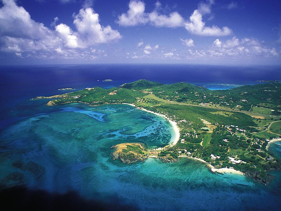 Island of Mustique from afar
