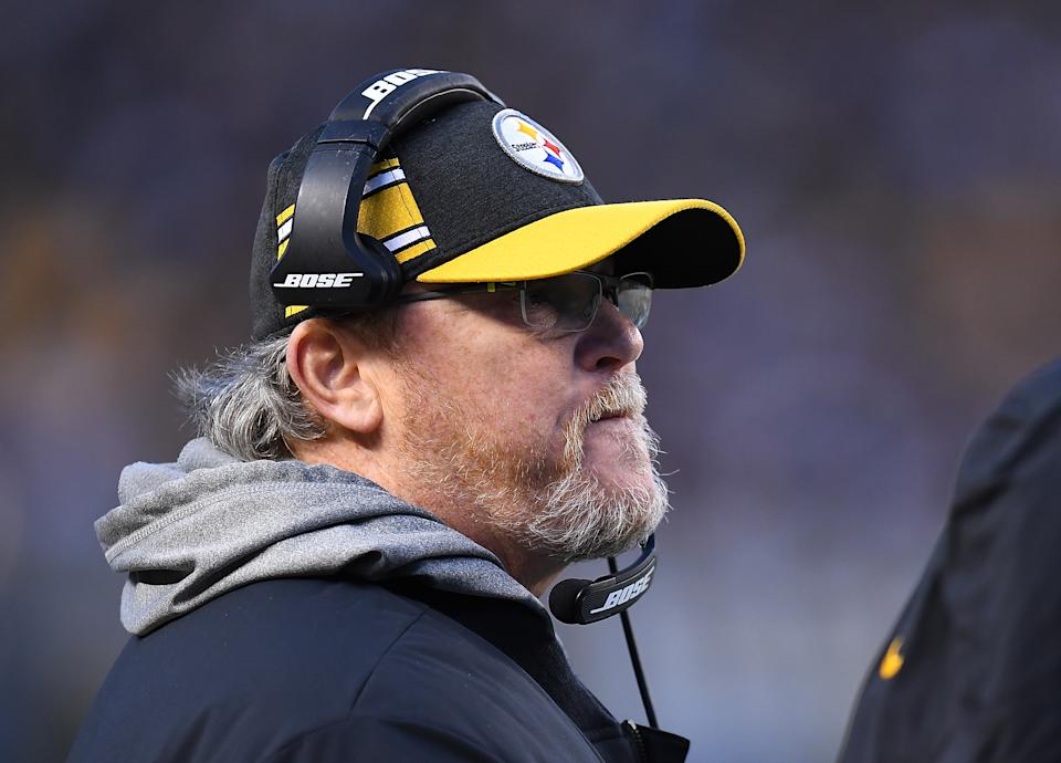 PITTSBURGH, PA - DECEMBER 30:  Offensive Coordinator Randy Fichtner of the Pittsburgh Steelers looks on during the game against the Cincinnati Bengals at Heinz Field on December 30, 2018 in Pittsburgh, Pennsylvania. (Photo by Joe Sargent/Getty Images)