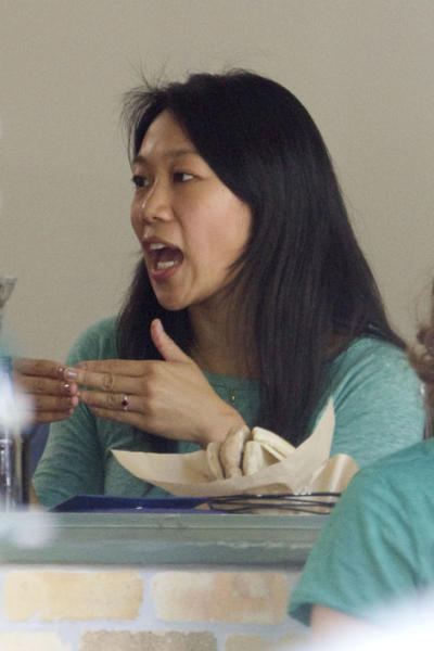 Priscilla Chan showed off her new ruby ring at lunch with a friend. Photo by Deano / Splash News