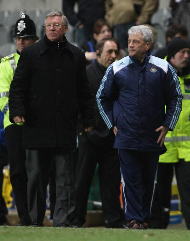 NEWCASTLE, ENGLAND - FEBRUARY 23: Sir Alex Ferguson of Manchester United and Kevin Keegan of Newcastle United walk off after the Barclays FA Premier League match between Newcastle United and Manchester United at St James' Park on February 23 2008, in Newcastle, England. (Photo by John Peters/Manchester United via Getty Images)