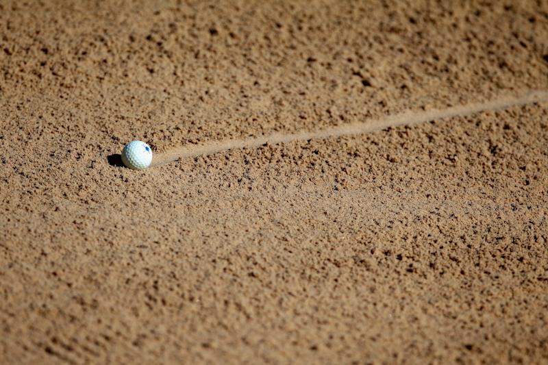 SAN ANTONIO, TX - MARCH 27: A ball is seen in the sand trap on the eighth hole during round two of the Valero Texas Open at TPC San Antonio AT&T Oaks Course on March 27, 2015 in San Antonio, Texas. (Photo by Marianna Massey/Getty Images)