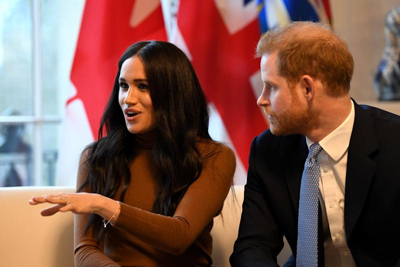 Texts between Meghan (pictured with Prince harry in January) and her father have been exposed ahead of court proceedings. Photo: Getty Images.